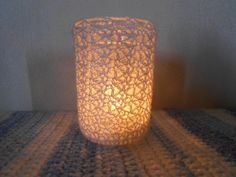 Lace Crochet Covered Jelly Jar Tealight Candle by UncommonlyGood, $5.00
