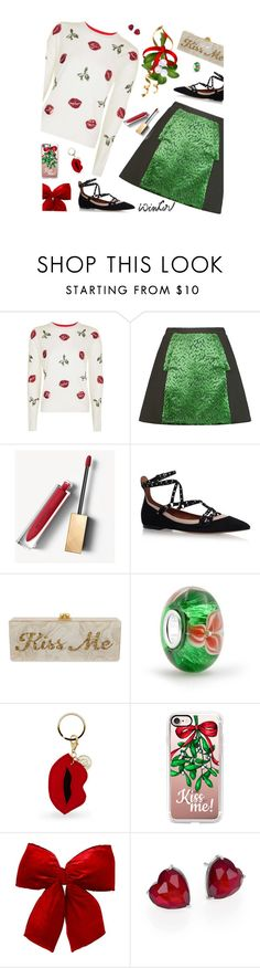 """""""Sweater Weather -  Kiss me"""" by molly2222 ❤ liked on Polyvore featuring Topshop, Delpozo, Burberry, Valentino, Edie Parker, Bling Jewelry, Iphoria, Casetify, Adriana Orsini and mistletoe"""