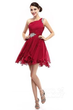 A-Line One Shoulder Short-Mini Chiffon Ski Patrol  Sleeveless Criss-Cross Cocktail Dresses COKM14004 #cocomelody #homecomingdresses #partygowns #customdresses