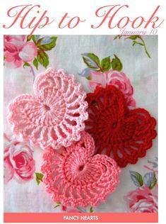 {how to} crochet valentines hearts by sarah london Crochet Motifs, Crochet Stitches, Crochet Appliques, Crochet Crafts, Yarn Crafts, Crochet Projects, Crochet Ornaments, Love Crochet, Craft Ideas