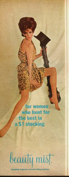 1965 Vintage Ad for Beauty Mist Stockings`Sexy Model`60's Fashion 022214 | eBay