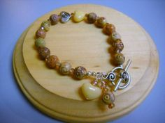 Carved Amber Soapstone Beaded Bracelet by Beads4You2008 on Etsy,