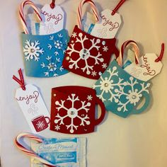 Craft Fair Items - December Events Stampin Up Gift Christmas Snowflake Cocoa Mug Hot Chocolate Treat Christmas Craft Fair, Christmas Paper Crafts, Stampin Up Christmas, Christmas Snowflakes, Christmas Gift Tags, Christmas Projects, Holiday Crafts, Christmas Gifts For Teachers, Handmade Christmas