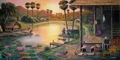 Thailand Landscape Pictures, Landscape Paintings, Art Village, Indian Paintings, Beautiful Artwork, Bangkok, Galleries, Watercolor Art, Magnets