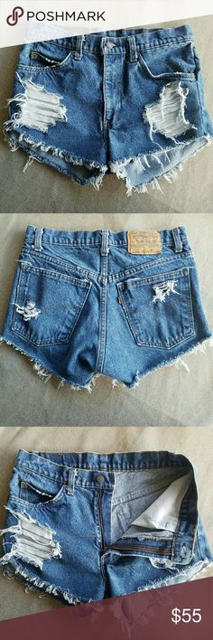 Vintage Levis High Waisted Cut-Off Shorts Created from a pair of jeans! Creating tgese takes a lot of time, so price is firm and no offers will be accepted. Size appears to be a 4, but USE MEASUREMENTS to ensure fit. Note: cut at somewhat of a 'v', so where it hits on the outerseam is not consistant/straight with the inseam.  Measurements  Outerseam 10 in Inseam 2.25 in Waist 15.5 in Feel free to ask me any additional questions! No trades, or modeling. Happy Poshing! Levi's Shorts