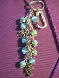 Beach Theme Summer Blue Turquoise Cats Eye Millifiori Bead Purse Charm Key Chain #FoxyFunDangles