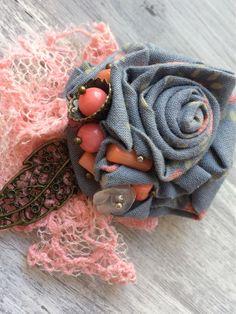 """Купить Брошь """"Клематис"""" - брошь, брошь цветок, брошь ручной работы, бохо-стиль…"""