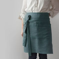 Grey Cafe Apron, Linen Half Apron, Unisex Linen Apron, Chef Apron, Washed Linen Apron, Handmade Linen Apron, Woman Pinafore, Gray apron