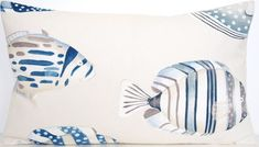 Made of printed cotton fabric. Backed in plain matching light colour fabric. Fisher, Fish Print, Cushions, Pillows, Printed Cotton, Light Colors, Cover, Pillow Cases, Cotton Fabric