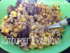 Hamburger and Rice Bowl (use a meat alternative to make it vegetarian and maybe add some cream of mushroom)
