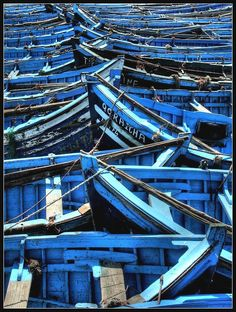 Essaouira, a city in the western Moroccan economic region of Marrakech-Tensift-Al Haouz, is known for two things : seagulls and little blue boats. Photo by Sebastien Herniote Azul Indigo, Indigo Blue, Cobalt Blue, Love Blue, New Blue, Blue And White, Yellow, Le Grand Bleu, Behind Blue Eyes