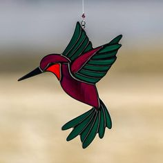 Hummingbird, stained glass hummingbird suncatcher, stain glass humming bird ornament on Etsy