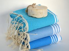 free shipping handwoven set 3 baby beach towels, turkish beach towel, hand head towel, tea towel, spring colours, turquoise blue striped by 1001days on Etsy