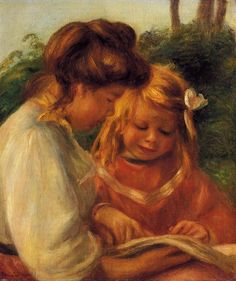 """The Alphabet"" (also known as Jean and Gabrielle), Pierre Auguste Renoir (1897), Private collection, Painting - oil on canvas Uploaded Thursday, 24 A"