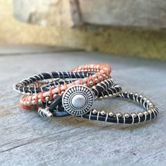 DIY: Leather wrap bracelet- step by step pictures and tutorial.