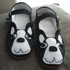 Boston terrier shoes! Steph for your little terrier. Looks like you can use cheap maryjanes.