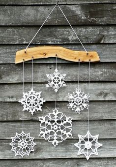 Holiday decor - crochet snowflake and wood ornament for cozy home