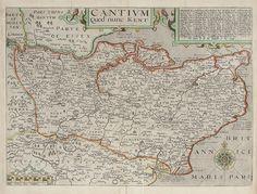 NORDEN, John & KIP, William. Cantium Quod nunc Kent. 1610. #Kent #county #Britannia