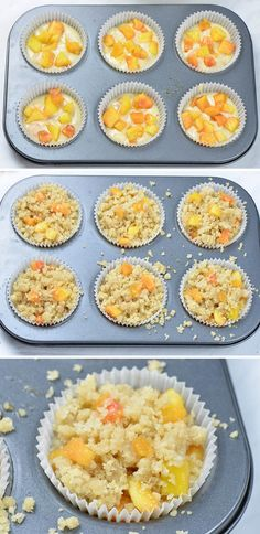 Peach Crumb Muffins Peach muffins in muffin pan ready for baking. Peach Muffins, Lemon Blueberry Muffins, Breakfast Muffins, Blue Berry Muffins, Best Breakfast, Breakfast Ideas, Best Muffin Recipe, Simple Muffin Recipe, Muffin Recipes