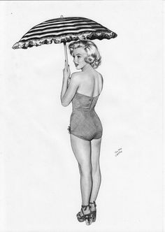 Marylin Monroe Pin-Up by TimGrayson - pencil drawing // This image first pinned to Marilyn Monroe art board here: https://www.pinterest.com/fairbanksgrafix/marilyn-monroe-art/ #Art #MarilynMonroe