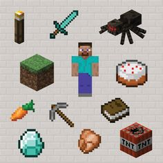 Minecraft Clip Art - instant digital download Minecraft clipart images, including zombie, TNT, Steve & creeper, personal or commercial use on Etsy, $5.20