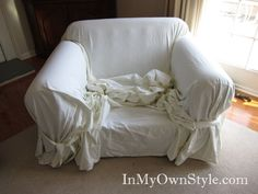 How to cover a chair with a tie on style slipcover