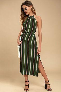 Faithfull the Brand Tuscany Green Striped Midi Dress
