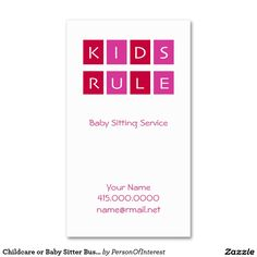 Childcare or Baby Sitter Business Cards