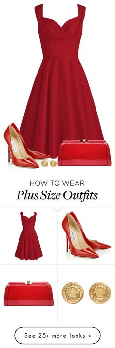 """""""The Red Dress"""" by mrs-soudaphone-styles on Polyvore featuring MKF Collection, Versace, red and Dressunder50"""