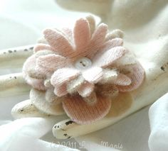 $12 felted flower pin, pink, taupe, tan, brown, recycled cashmere & wool