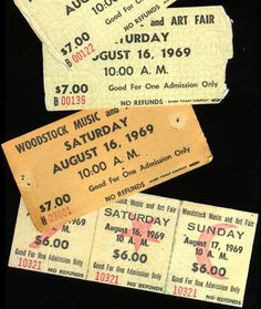 Woodstock Tickets. I still have mine in perfect condition.  The three day ones.