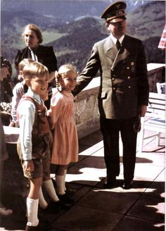 Adolf with a few of Martin Bormann's ten children at the Berghof.