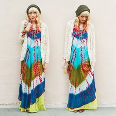 Tie Dyed Maxi Dress + Sweater + Crochet Hat
