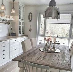 My kitchen ✔️ By - décorationcuisine. - My kitchen ✔️ By - décorationcuisineikea küchedekorationideen küchendekorationbasteln küchendekorationbilder küchendekorationfenster küchendekorationlandhaus - Home Decor Kitchen, Country Kitchen, Kitchen Interior, Home Kitchens, Ikea Kitchen, Interior Design Living Room, Living Room Designs, Cozinha Shabby Chic, Beautiful Kitchens