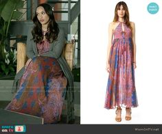 cc79f6cfecd8 Erica's pink printed maxi dress and grey cardigan on Last Man on Earth