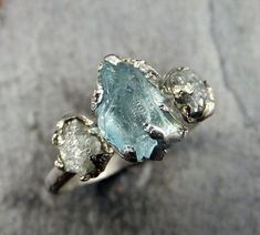Raw Uncut Aquamarine Diamond White Gold Engagement Ring Wedding Ring Custom One Of a Kind Gemstone Ring Bespoke Three stone Ring byAngeline