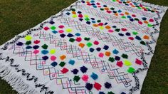 "102""X63"" Hand-woven Moroccan Cotton Throw Blanket Inspired Moroccan Wedding Blanket, Can used as Moroccan carpet"