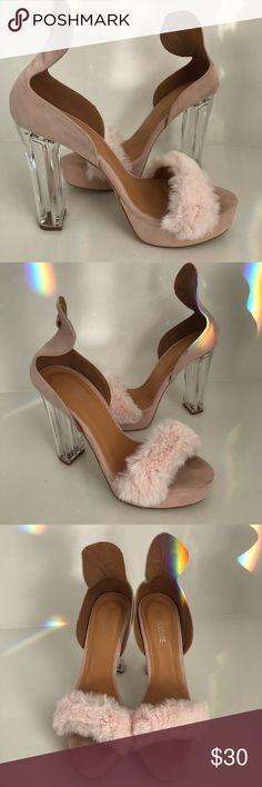 1b165520afd Public Desire Chucky Clear Heels Public Desire Pink Fuzzy Chucky Clear Heels  Wore in a photo