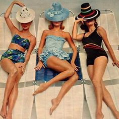 Summer style!! Three wonderful vintage swimsuits that should be in stores RIGHT NOW!! Somebody make these available for RETAIL sale!! So go ahead and enlarge this photo for shop or store display or wall decor in restaurant or condo or beach house or vacation house seaside or Oceanside!!