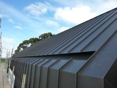 Colorbond® MATT and Walling in Monument - True Blue Roofing Roof Cladding, House Cladding, Metal Cladding, External Cladding, Zinc Roof, Metal Roof, Roof Architecture, Architecture Details, Roof Design