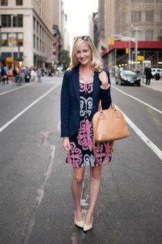 The Bows and Sequins/Ann Taylor/BirchBox Event on 5th Avenue: Milly for BN Dresses, Navy Blazers, and Tory Bags - Kelly in the City