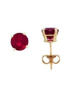 Ruby Stud Earrings in 14 Kt. Yellow Gold
