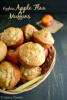 Spicy Treats: Flax Apple Muffins / Eggless Flax N Apple Muffins / Eggless Apple Flax Muffins - High Fiber Foods and Recipes To Beat Constipation In Kids Eggless Recipes, Eggless Baking, Easy Baking Recipes, Spicy Recipes, Healthy Baking, Cooking Recipes, Healthy Food, Healthy Breads, Healthy Appetizers