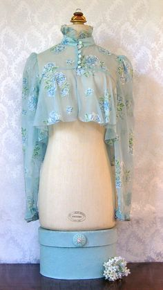 Vintage 1970s Sheer blue top shirt blouse by TheVelvetPrincess, $19.00