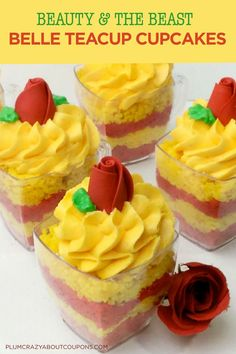 Belle Cupcake Recipe from Beauty and The Beast Beauty And The Beast Cupcakes, Beauty And The Beast Party, Beauty And Beast Birthday, Yellow Cupcakes, Gel Food Coloring, Beauty Tips For Teens, Margarita Recipes, Royal Icing, Cupcake Recipes