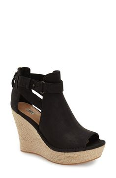 Free shipping and returns on UGG® 'Jolina' Open-Toe Wedge (Women) at Nordstrom.com. A braided ropey wedge lifts a trend-right open-toe shaped from buttery-soft nubuck leather and fashioned with sultry cutout sides.