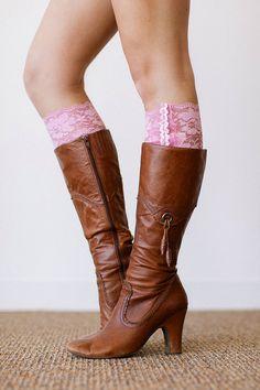 Pink Lace Boot Cuffs Faux Leg Warmer Boot Socks by ThreeBirdNest, $28.99