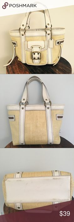 """🥝 • coach • legacy leather & straw tote Unique woven straw and white leather Coach tote! Features front pocket with magnetic clasp, brass hardware and side zipper pockets with tassels. Interior is done in tan signature Coach print and has a clasp closure, inner zip pocket and two open storage pouches. Bag shows normal signs of wear on leather on bottom and handles. Some yellow spotting on side of outer pocket as shown in pic. In fair condition. Serial no. M05K-113. Measures @ approx: 14.5""""…"""
