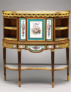 Secretary, ca. 1776 Attributed to Martin Carlin (French, ca. 1730–1785) Paris Oak; tulipwood, purplewood, holly, and sycamore veneer; porcelain and tôle painted to imitate porcelain; gilt bronze;  Gift of Mr. and Mrs. Charles Wrightsman, 1976