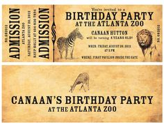 ticket invitation for a zoo theme party - Bing Images. Lots of zoo themed picture from a variety of parties here.